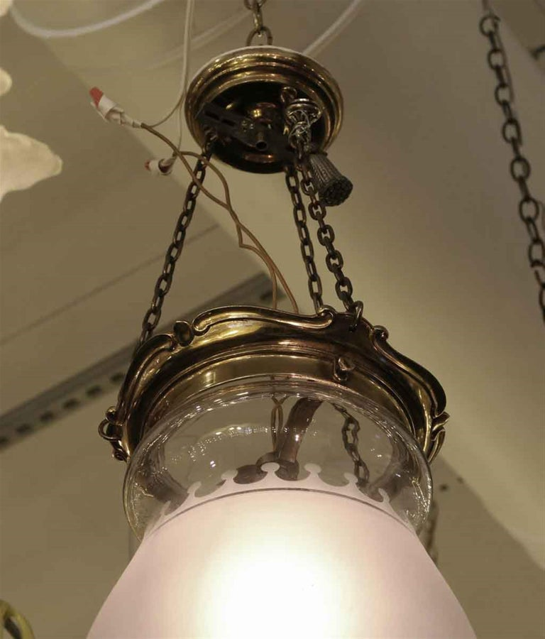 Mid-20th Century 1931 NYC Waldorf Astoria Hotel Frosted Glass EF Caldwell Pendant Bell Jar Light For Sale