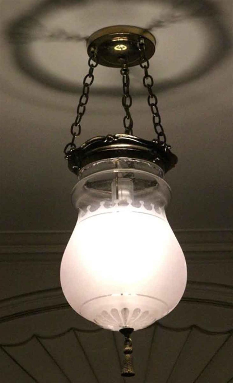 1931 NYC Waldorf Astoria Hotel Frosted Glass EF Caldwell Pendant Bell Jar Light For Sale 1