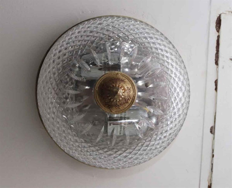 Mid-20th Century 1931 NYC Waldorf Astoria Hotel Italian Cut Crystal Brass Flush Mount Light For Sale