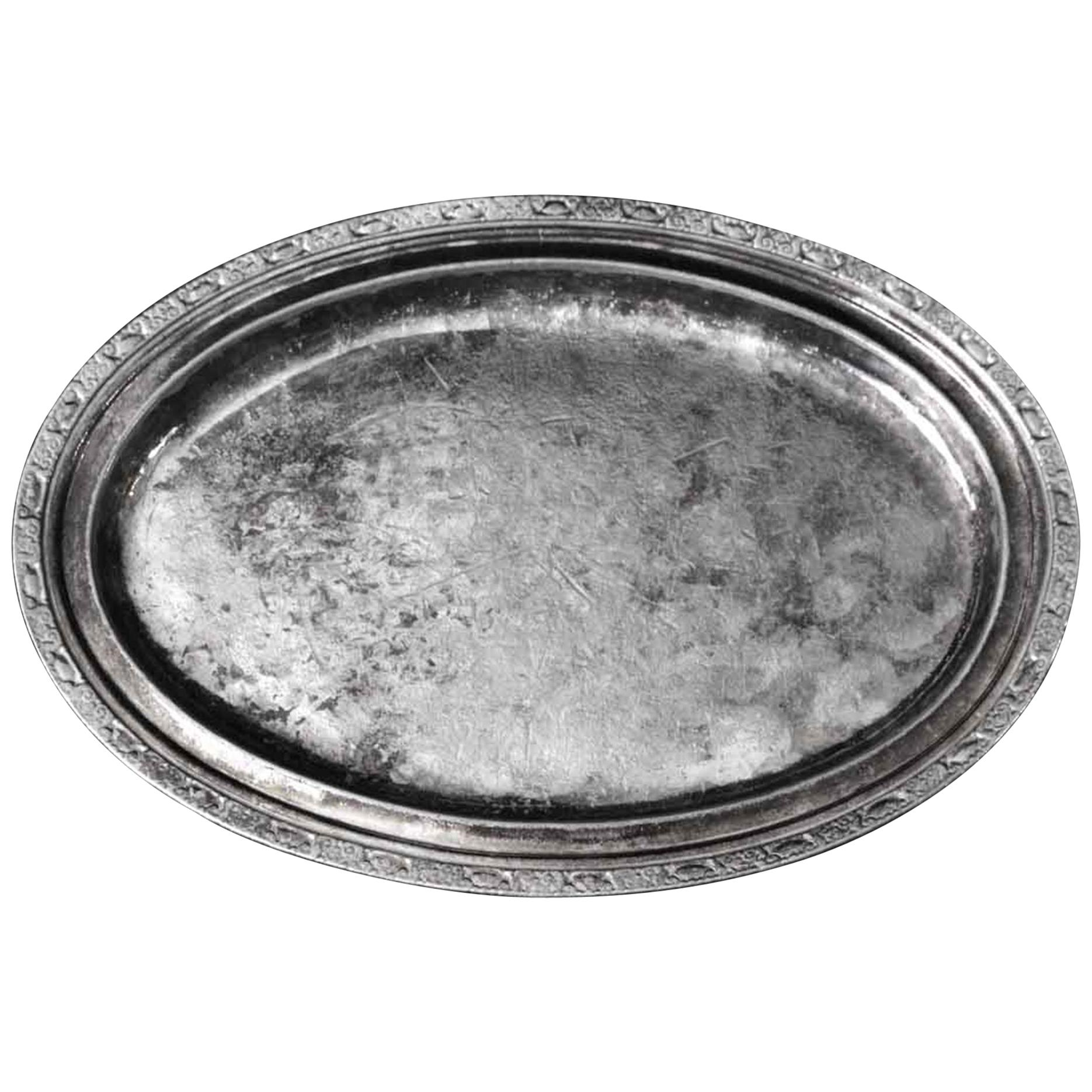 1931 NYC Waldorf Astoria Hotel Silver Plated Brass Art Deco Oval Serving Tray