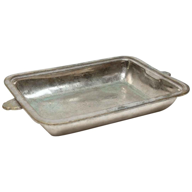 1931 NYC Waldorf Astoria Hotel Silvered Shallow Dish, Art Deco For Sale