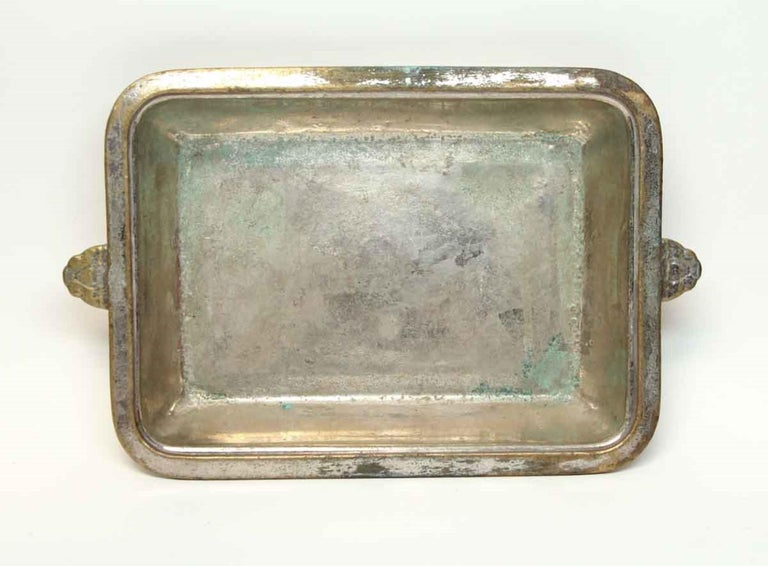 Mid-20th Century 1931 NYC Waldorf Astoria Hotel Silvered Shallow Dish, Art Deco For Sale