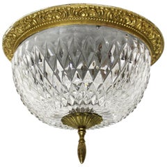 1931 NYC Waldorf Astoria Hotel Towers Cut Crystal and Brass Flush Mount Fixture