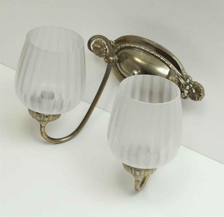 Wall Sconces Nyc: 1931 NYC Waldorf Astoria Hotel Two-Light Nickel Sconce