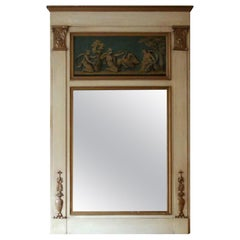 1931 NYC Waldorf Astoria Hotel Wood Over Mantel Mirror with Gold Figural Details