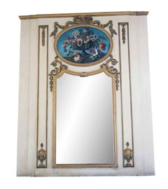 1931 NYC Waldorf Astoria White Wood over Mantel Mirror with Floral Details