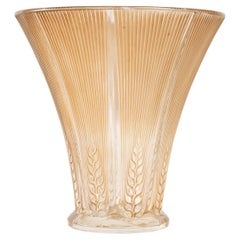 1931 René Lalique Epis Vase in Frosted and Clear Glass with Sepia Patina