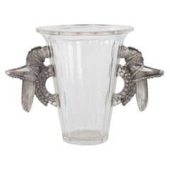 1931 Rene Lalique Grillons Vase in Frosted Glass with Grey Patina Crickets