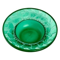 1931 René Lalique Irene Astray Pintray Emerald Green Glass with White Patina