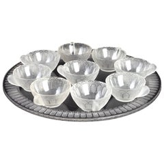 1931 René Lalique Jaffa Set of 9 Ice-Cream Cups and Tray Frosted Glass