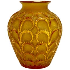 1931 René Lalique Laiterons Vase in Yellow Amber Glass Sepia with Beige Patina