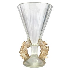 1931 René Lalique Roitelets Vase in Clear Crystal with Sepia Patina, Swallows
