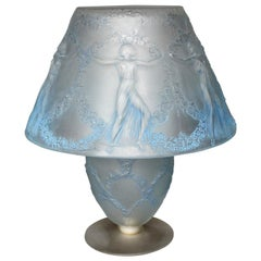 1931 Rene Lalique Six Danseuses Lamp Blue Stained Froted Glass - Dancing Women
