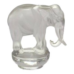 1931 René Lalique Toby Elephant Statue Paperweight Frosted Glass