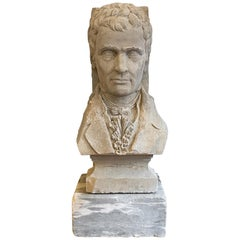 1931 Stately Bust of Robert Fulton Carved in Limestone on Marble Base
