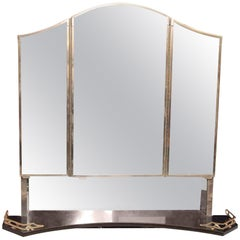 1931 Waldorf Astoria Hotel Bath Cabinet 3 Mirrors and Black Granite Shelf