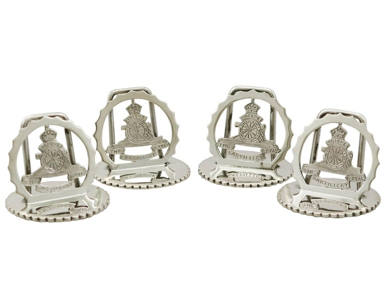 An exceptional, fine and impressive set of four antique George V English sterling silver Royal Artillery menu holders, boxed, an addition to our 1930s silverware collection.