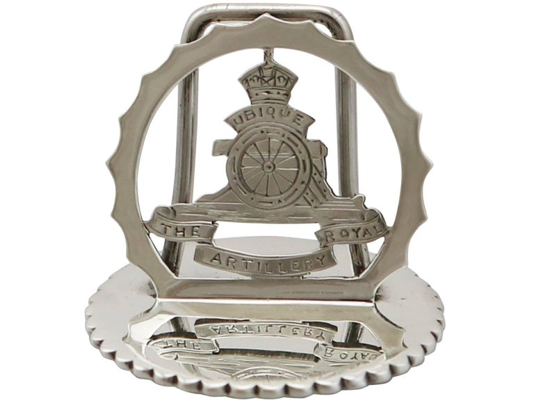Mid-20th Century 1932 Antique Sterling Silver Royal Artillery Menu Holders For Sale