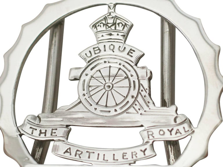 1932 Antique Sterling Silver Royal Artillery Menu Holders For Sale 4