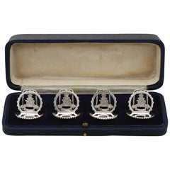 1932 Antique Sterling Silver Royal Artillery Menu Holders