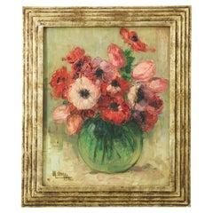 1932 Belgian Oil Painting in Frame
