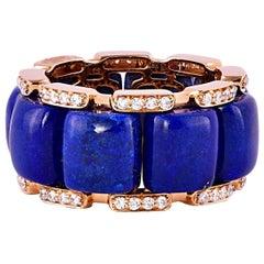 19.32 Carat Lapis Lazuli and White Diamond Ring in 18 Karat Rose Gold