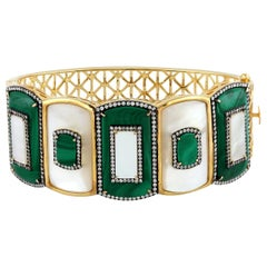 19.32 Carat Malachite Diamond Bangle Bracelet
