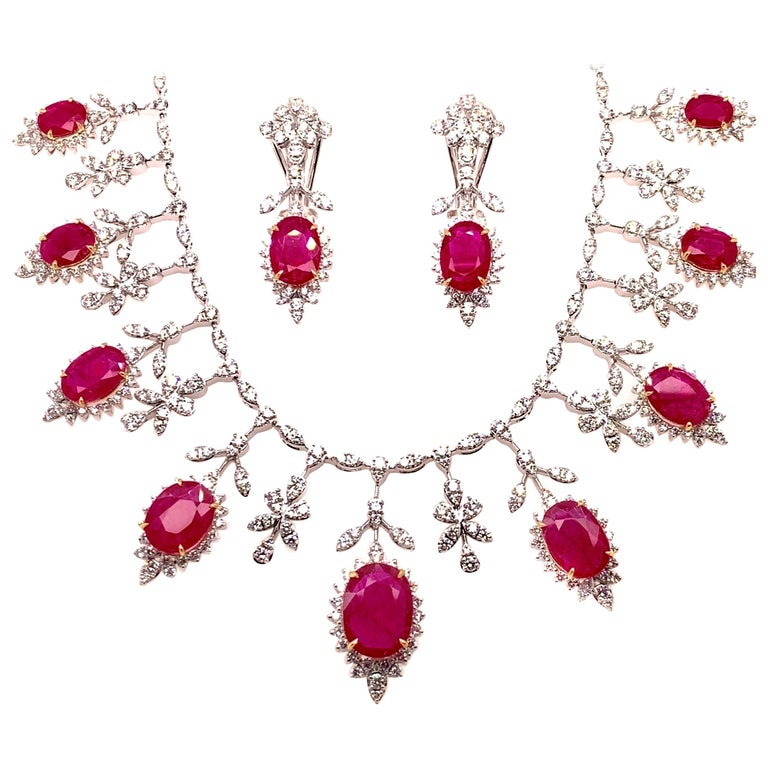 19.32 Carat Ruby Diamond Necklace Set For Sale 3