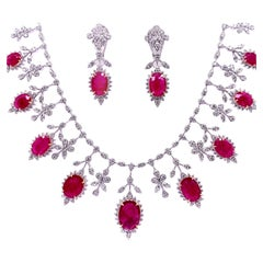 19.32 Carat Ruby Diamond Necklace Set