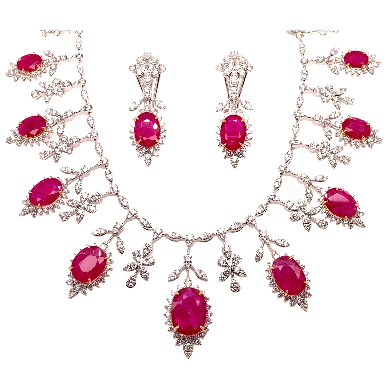 19.32 Carat Ruby Diamond Necklace Set
