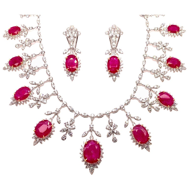 19.32 Carat Ruby Diamond Necklace Set For Sale