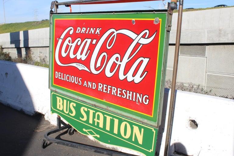 1932 Coca-Cola Porcelain Bus Station Sign For Sale 7