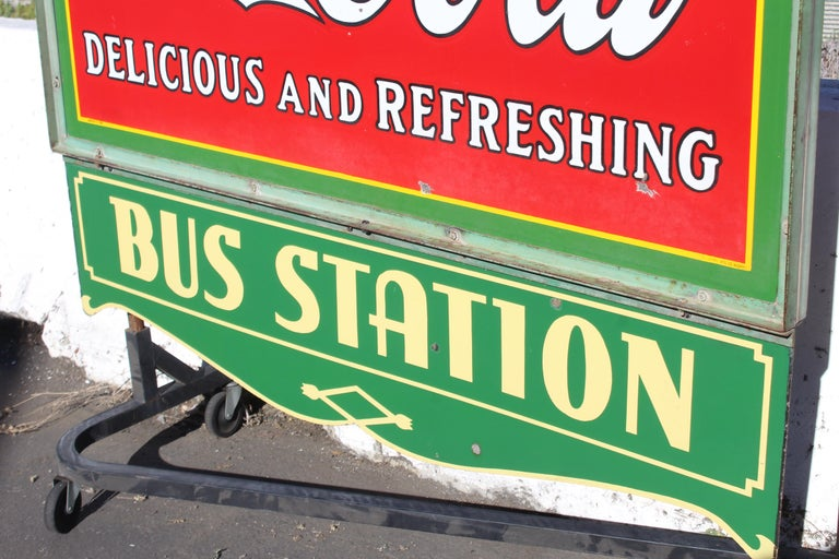 1932 Coca-Cola Porcelain Bus Station Sign For Sale 8