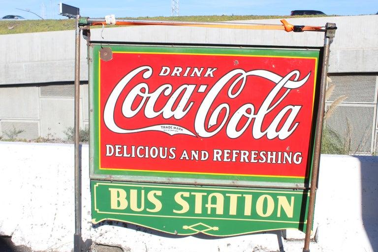 1932 Coca-Cola Porcelain Bus Station Sign For Sale 9