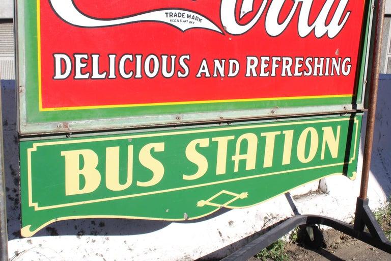1932 Coca-Cola Porcelain Bus Station Sign For Sale 13