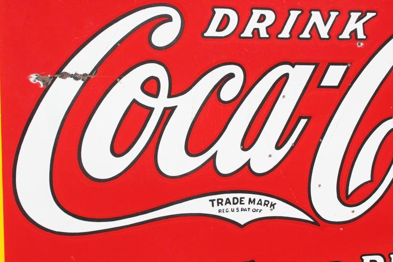 Mid-20th Century 1932 Coca-Cola Porcelain Bus Station Sign For Sale