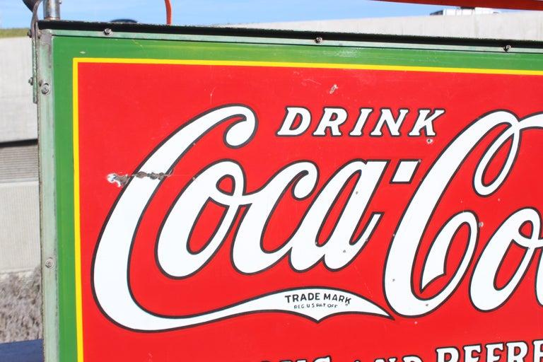1932 Coca-Cola Porcelain Bus Station Sign For Sale 1