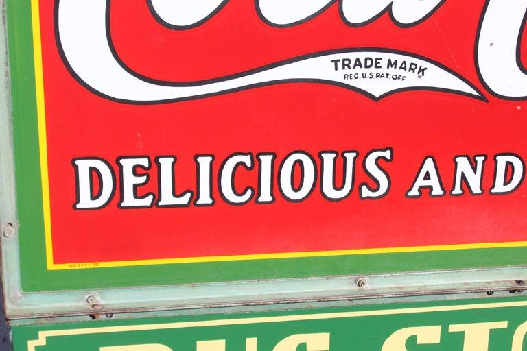 1932 Coca-Cola Porcelain Bus Station Sign For Sale 2