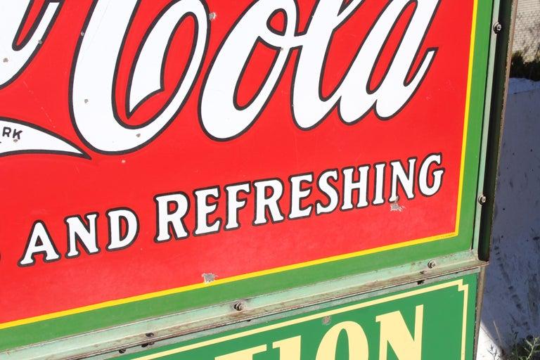 1932 Coca-Cola Porcelain Bus Station Sign For Sale 3