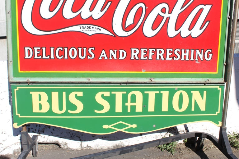 1932 Coca-Cola Porcelain Bus Station Sign For Sale 4