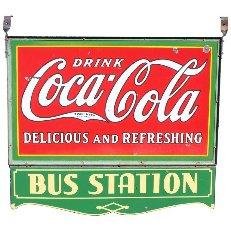 1932 Coca-Cola Porcelain Bus Station Sign For Sale