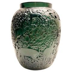 1932 Original René Lalique Biches Vase in Dark Green Glass