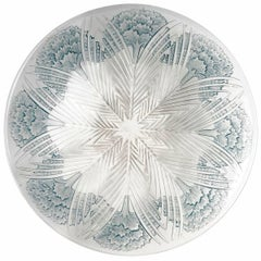 1932 René Lalique, Bowl Plate Oeillets Clear Glass with Sepia Patina Carnations