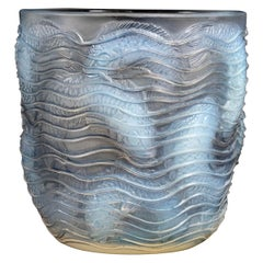 1932 René Lalique Dauphins Vase in Opalescent Glass with Grey Patina Dolphins
