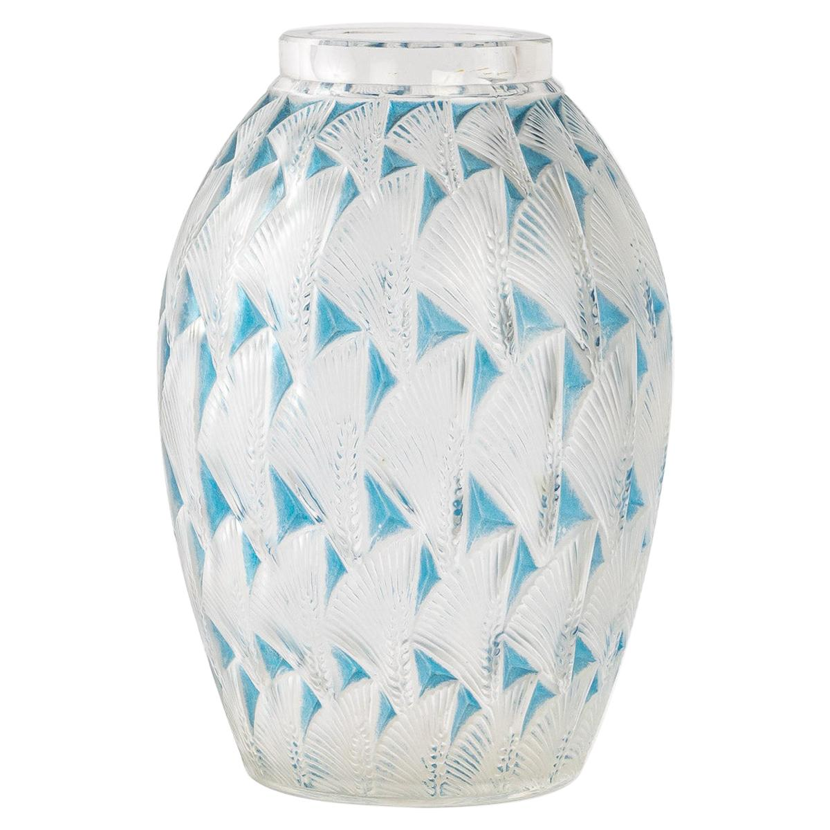 1932 Rene Lalique Grignon Vase in Frosted Glass with Blue Patina