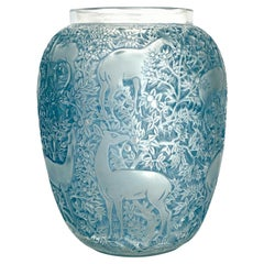 1932 René Lalique Original Biches Vase in Frosted Glass with Blue Patina