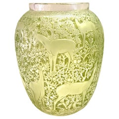 1932 René Lalique Original Biches Vase in Frosted Glass with Green Patina