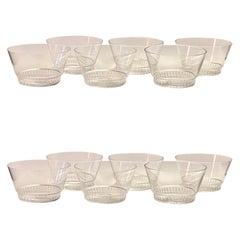 1932 René Lalique Set of 12 Glass Bourgueil Hand Bowls, Art Deco Bowls