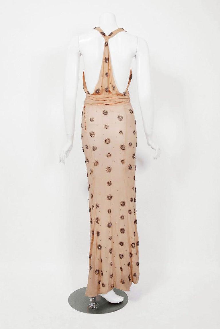 1932 Tallulah Bankhead Movie-Worn Beaded Blush Silk Bias Cut Deco Gown & Jacket For Sale 5