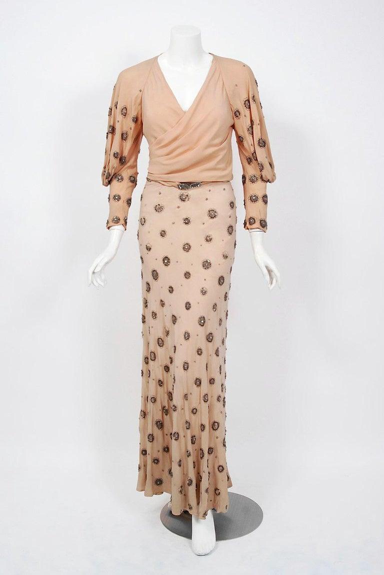 1932 Tallulah Bankhead Movie-Worn Beaded Blush Silk Bias Cut Deco Gown & Jacket For Sale 6